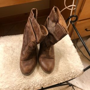Aldo Western Style Distressed Leather Boots.